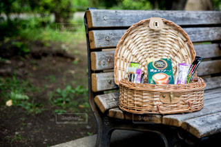 公園のベンチでピクニックの写真・画像素材[1295589]