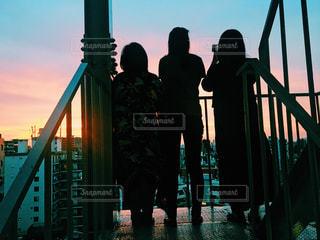 夏の夕焼けの写真・画像素材[1374464]