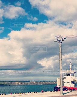 海,空,秋,雲,虹,船,北海道,陽射し,秋空,網走