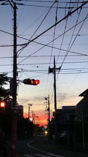 空,夕日,夕焼け,景色,電線,信号,ノスタルジック