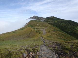 羊の立っている岩の多い丘の上の群れの写真・画像素材[766009]