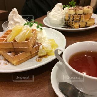 カフェ,ワッフル,くつろぐ,最高,至福,食後のデザート