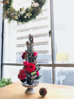 窓の前に座って花の花瓶の写真・画像素材[953892]