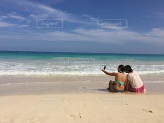 海,水着,仲良し,ハワイ,ビーチ日和