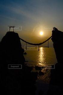 軍艦島に沈む夕日の写真・画像素材[1268702]