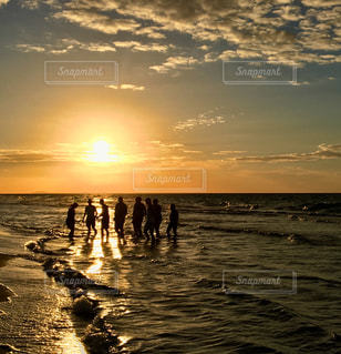 海,夕日,海外,ビーチ,グループ