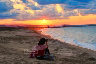 海,夕日,夕暮れ,オレンジ,鳥取,鳥取砂丘