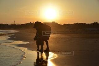 夕暮れの海岸の写真・画像素材[3396284]