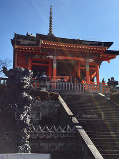 空,建物,清水寺,屋外,国内,京都,階段,青空,旅行,狛犬,寺,関西,国内旅行