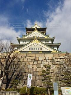 風景,空,木,屋外,国内,大阪,雲,晴れ,城,景色,樹木,屋根,旅行,大阪城,石,快晴,関西,石垣,国内旅行