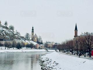 オーストリア ザルツブルク。雪の日の街並み♪の写真・画像素材[1812388]