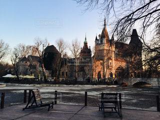 自然,風景,公園,冬,木,屋外,海外,きれい,夕暮れ,ベンチ,城,ヨーロッパ,お城,景色,観光,椅子,樹木,都会,旅行,チェア,木目,海外旅行,ハンガリー,ブダペスト,トラベル,パーク,日中,2月,中欧