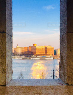 ハンガリー ブダペスト。城壁からのドナウ川沿いの景色🇭🇺の写真・画像素材[1884307]