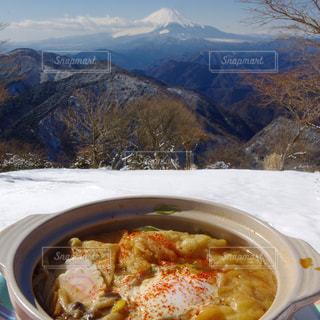 雪の富士と熱々鍋焼きうどん - No.771452