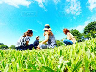 草の中に座っている人々 のグループの写真・画像素材[711683]