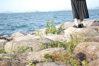 水の体の横にある岩のビーチの写真・画像素材[915856]