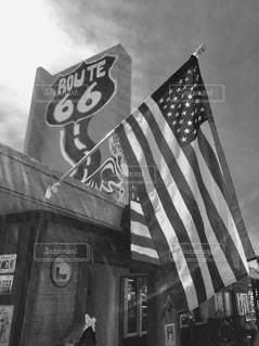 星条旗とルート66の写真・画像素材[819998]