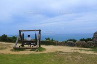 草の上に座っている平面カバー フィールド - No.1115888