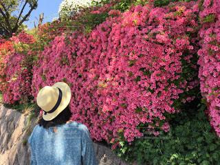 ピンクの花を身に着けている人の写真・画像素材[1143403]