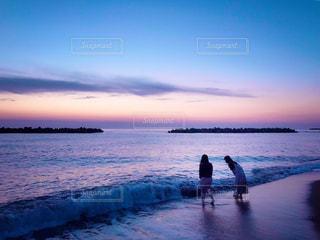 海,夕日,夕焼け,グラデーション