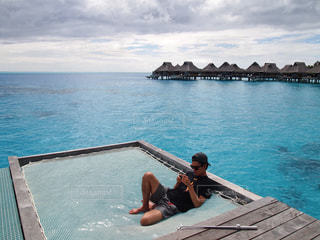 男性,海,男,ボラボラ島,タヒチ