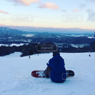 雪,後ろ姿,山,景色,スノボ