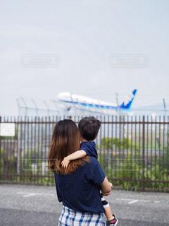 飛行機,抱っこ,ママと子供