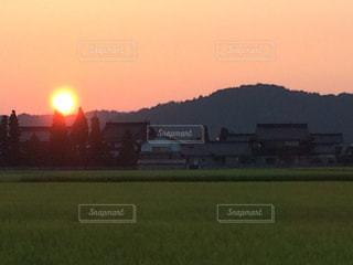 田んぼと夕日の写真・画像素材[1399626]