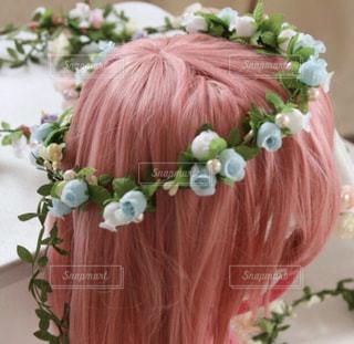 花,ピンク,かわいい,水色,パステルカラー,キュート,pink,ウィッグ,ファンシー,ヘアアクセ,かんむり