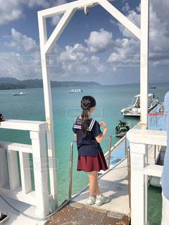 自然,海,夏,屋外,後ろ姿,帽子,船,女の子,少女,背中,外,半袖