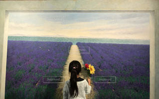 花,後ろ姿,絵,女の子,少女,背中,絵画