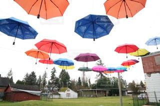 カラフルな傘の写真・画像素材[3107636]