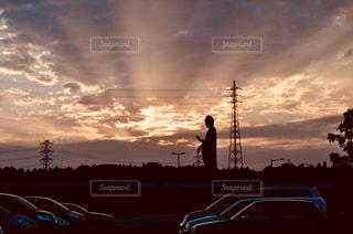 日没の前にトラフィック ライトの写真・画像素材[1475100]