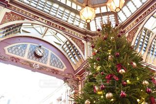 建物の前に座っているクリスマス ツリーの写真・画像素材[1698062]