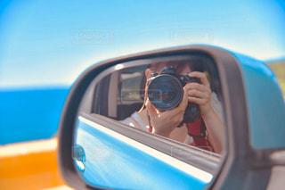 車のサイドミラー ビューの写真・画像素材[1828638]