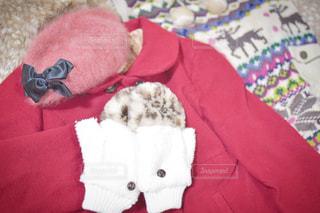 赤い毛布を着ているテディベアの写真・画像素材[1838269]