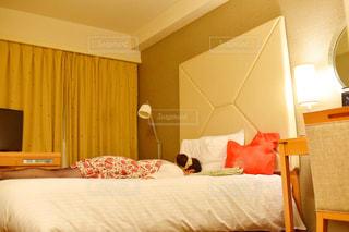 ホテルの部屋にベッド付きのベッドルームの写真・画像素材[2837649]