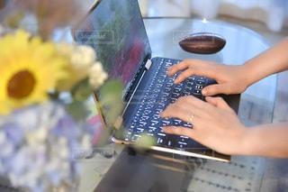 ラップトップコンピュータを使っている人の写真・画像素材[3358057]