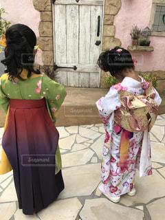 屋外,後ろ姿,人物,背中,着物,人,後姿,七五三,Japanese,kimono