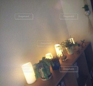 夜,キャンドル,本棚,観葉植物,お気に入り,イケア