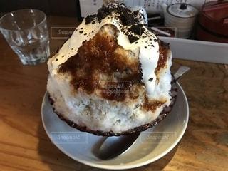 まめ茶和ん「コーヒーみるく」のかき氷の写真・画像素材[1356007]