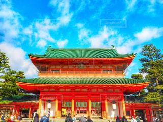空,京都,赤,青,観光,人物,旅行,旅,平安神宮,朱色,観光客,おすすめ