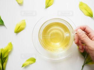 緑,葉っぱ,手,ガラス,人物,ティーカップ,ナチュラル,お洒落,緑茶,日本茶,俯瞰ショット,伊勢茶