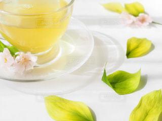 花,ピンク,緑,葉っぱ,ガラス,ティータイム,お茶,テーブルフォト,ナチュラル,お洒落,日本茶