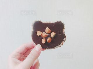 クマ型のチョコレートクッキーを持っている手の写真・画像素材[1197041]