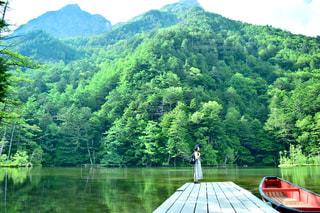 自然,アウトドア,緑,池,山,休日,上高地,お出かけ
