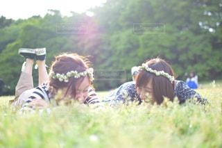 アウトドア,芝生,花冠,休日,お出かけ