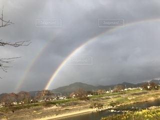 野原の虹の写真・画像素材[2508614]