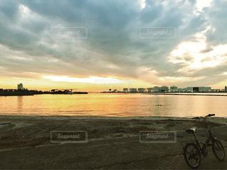 海,空,ビーチ,砂浜,夕暮れ,海岸