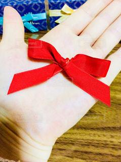 赤,手,プレゼント,リボン